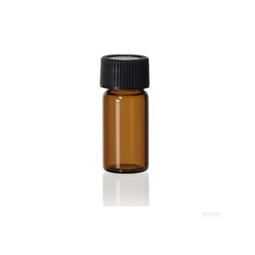 1 1/2 Dram Amber Glass Vial w/ Black Cap (CT15738)