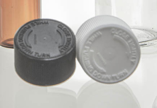 24-400 Child Resistant Cap Black or White F-217 Foam Liner