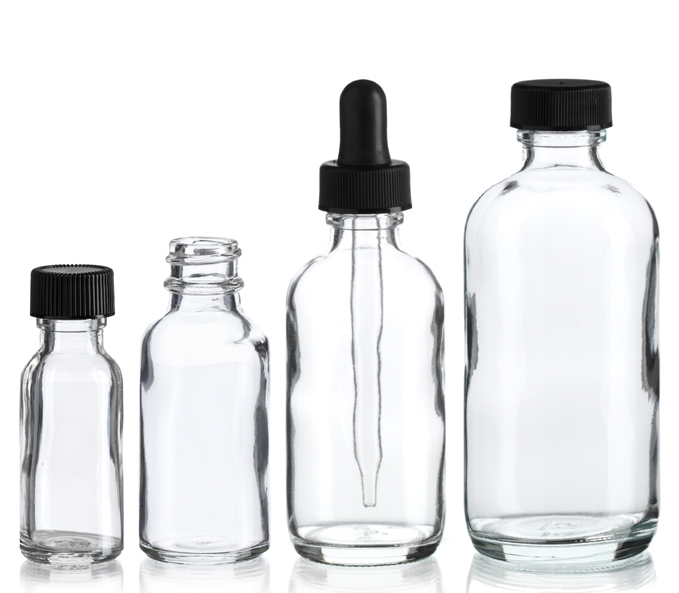 Clear Boston Round Bottle
