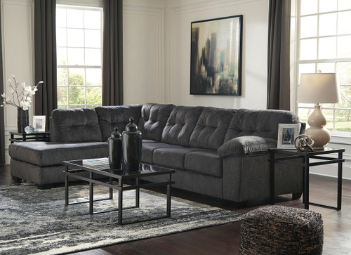 Accrington Granite Left Arm Facing Corner Chaise, Right Arm Facing Sofa Sectional & Laney Table Set