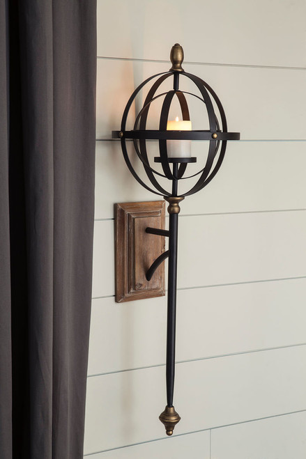 Dina Black/Gold Finish Wall Sconce