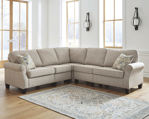 Alessio Beige 5 Pc. Sofa, Wedge, Armless Chair (2), Loveseat Sectional