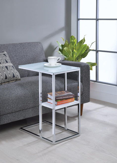 1-shelf Accent Table Chrome And White - 904018