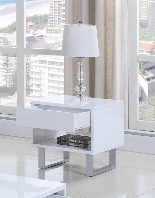 1-drawer End Table High Glossy White - 705697