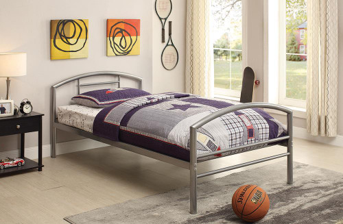 Baines Metal Bed - Baines Twin Metal Bed With Arched Headboard Silver - 400159T