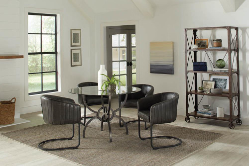 Anthracite - Aviano Upholstered Dining Chair Anthracite And Matte Black - 109292
