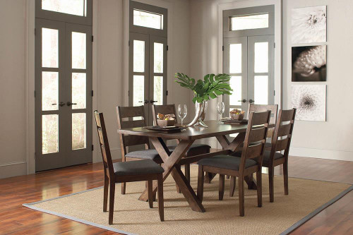 Alston Collection - Grey - Alston Ladder Back Dining Side Chairs Knotty Nutmeg And Grey (Set of 2) - 106382