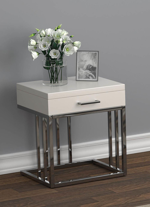 1-drawer Rectangular End Table Glossy White And Chrome - 723137