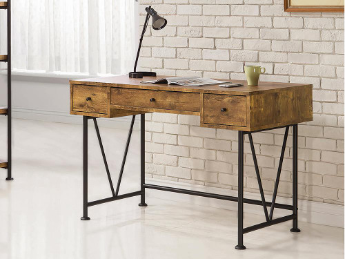 Analiese Collection - Analiese 3-drawer Writing Desk Antique Nutmeg And Black - 801541
