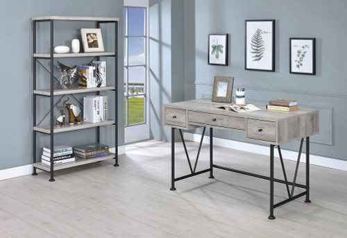 Analiese Collection - Analiese 3-drawer Writing Desk Grey Driftwood And Black - 801549