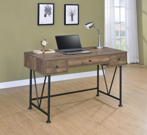 Analiese Collection - Analiese 3-drawer Writing Desk Rustic Oak And Black - 802541