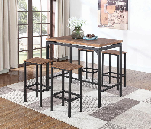 5-piece Bar Set Weathered Chestnut And Black - 182002