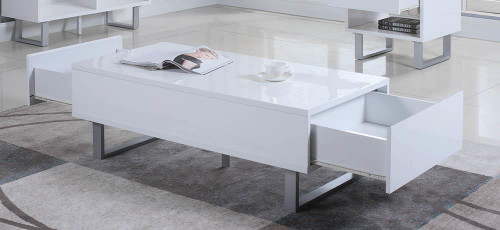 2-drawer Coffee Table High Glossy White - 705698