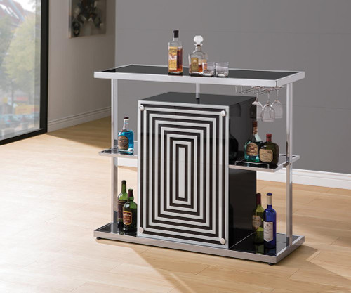 2-tier Bar Unit Glossy Black And White - 130076