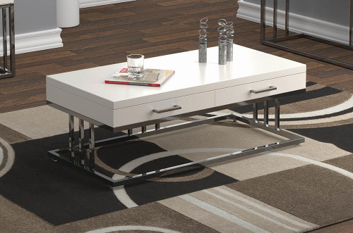 2-drawer Rectangular Coffee Table Glossy White And Chrome - 723138