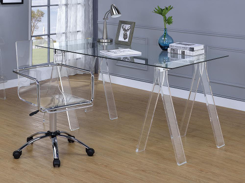 Amaturo Collection - Amaturo Writing Desk With Glass Top Clear - 801535