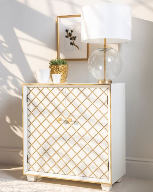 2-door Accent Cabinet White And Gold - 953286