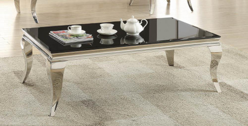 Abildgaard Collection - Rectangular Coffee Table Chrome And Black - 705018