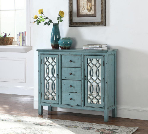 4-drawer Accent Cabinet Antique Blue - 950736