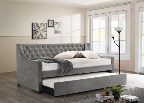 Chatsboro - Grey - Chatsboro Twin Upholstered Daybed With Trundle Grey - 305883