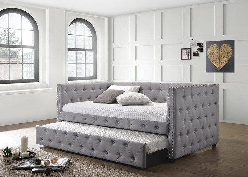 Mockern Daybed - Grey - Mockern Tufted Upholstered Daybed With Trundle Grey - 302161