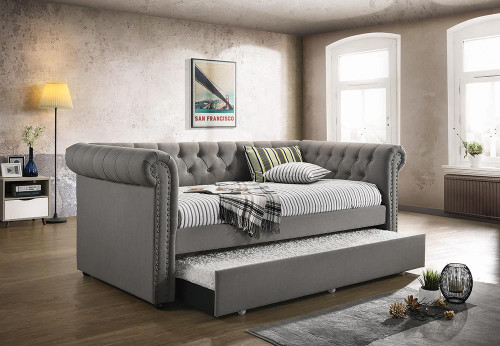 Kepner Daybed - Grey - Kepner Tufted Upholstered Daybed Grey With Trundle - 300549