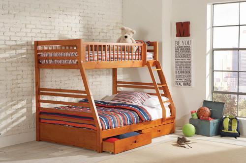 Ashton Bunk Bed - Ashton Twin Over Full 2-drawer Bunk Bed Honey - 460183