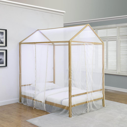 Altadena Metal Bed - White - Altadena Twin Canopy Bed With Led Lighting Matte Gold - 305773T