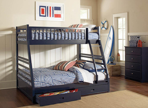 Ashton Bunk Bed - Ashton Twin Over Full 2-drawer Bunk Bed Navy Blue - 460181