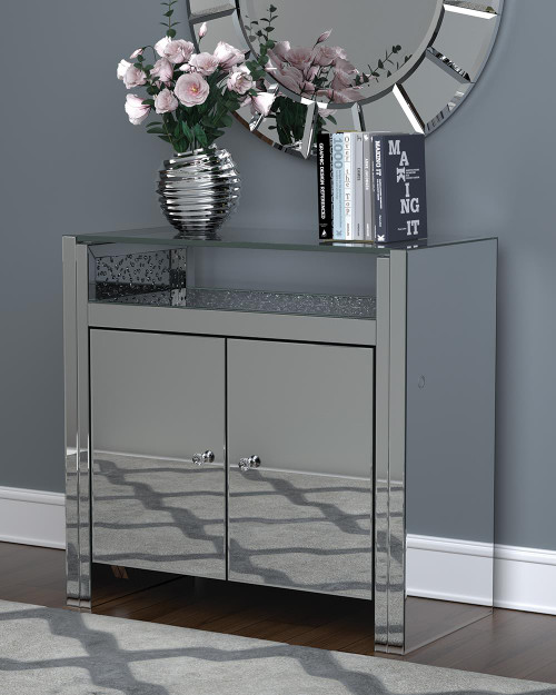 2-door Accent Cabinet Clear Mirror And Silver - 951770