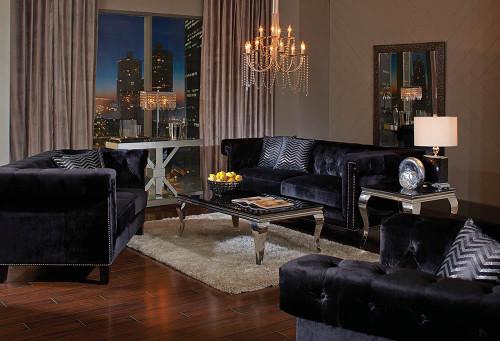 Abildgaard Bedroom Collection - Black - Reventlow Tufted Sofa Black - 505817