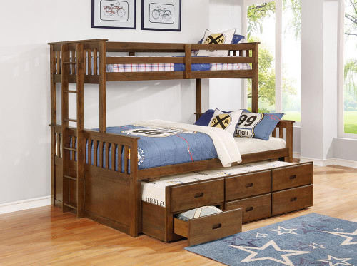 Atkin Bunk Bed - Atkin Twin Extra Long Over Queen 3-drawer Bunk Bed Weathered Walnut - 461147