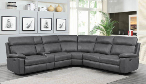Albany Motion Collection - Grey - Albany 6-piece Power^2 Sectional Grey - 603270PP