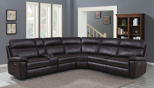 Albany Motion Collection - Brown - Albany 6-piece Power^2 Sectional Brown - 603290PP