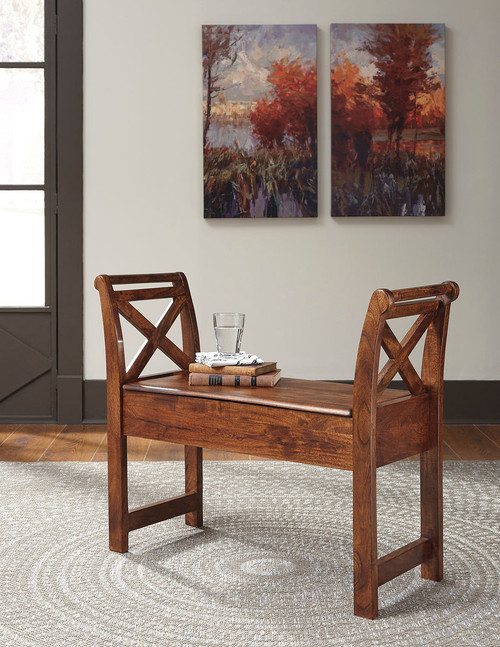 Abbonto Warm Brown Accent Bench