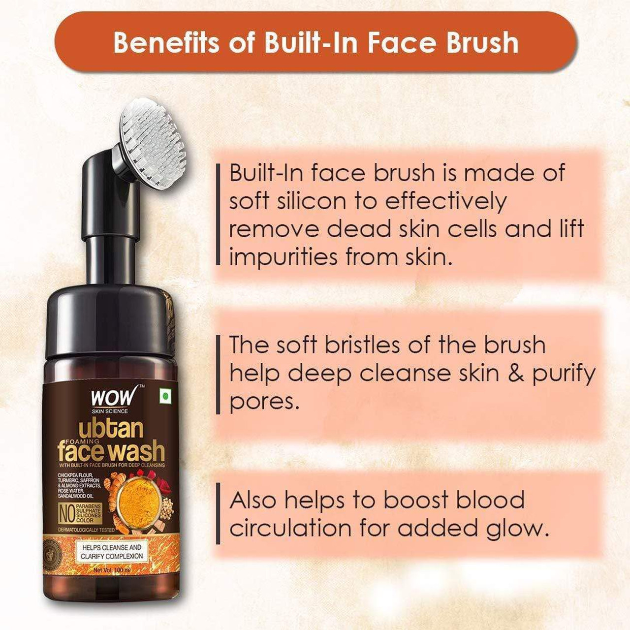 WOW Skin Science Ubtan Foaming Face Wash with Brush - 100 ml