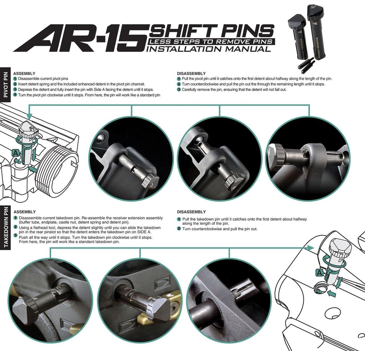Strike Industries AR15 SHIFT Take Down Pins - AR15