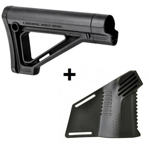MDX Featureless Combo Magpul MOE Carbine Stock with Strike Featureless Grip - Simple Grip Megafin Grip