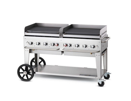 "Crown Verity - 60"" Liquid Propane Mobile Griddle W/ Splash Guard - MG60LP"