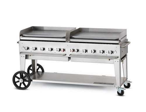 "Crown Verity - 72"" Natural Gas Mobile Griddle W/ Splash Guard - MG72NG"