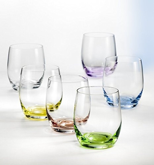 Bohemia Crystal - Set of 6 Stemless Rainbow Wine Glasses - BC180300