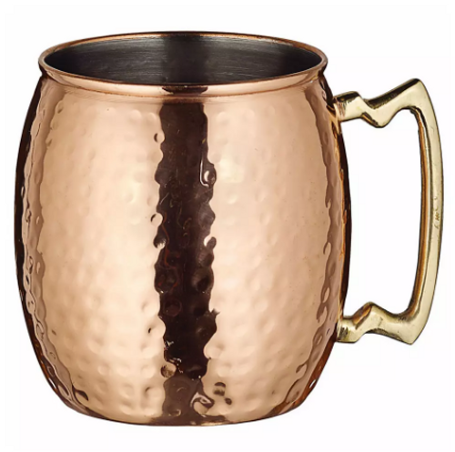 Winco - Hammered Copper Moscow Mule Mug with Brass Handle - CMM20H