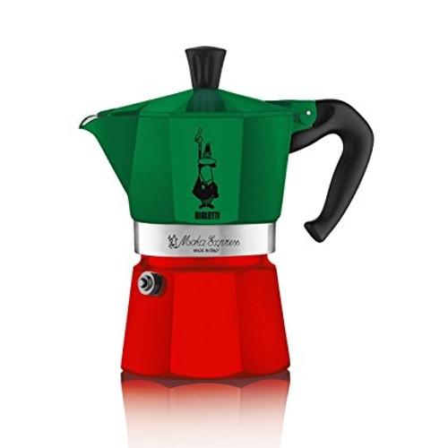 Bialetti - Moka 6 Cup Tri-Colour Aluminum Stove Top Espresso Maker