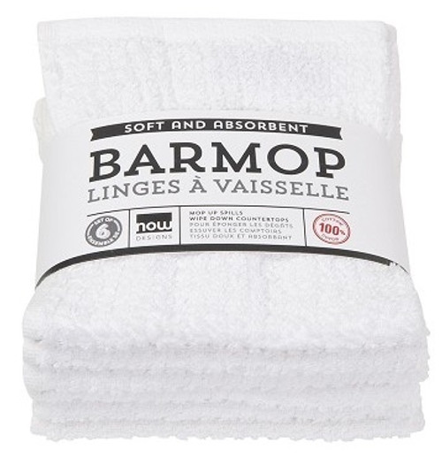 "Now Designs - White 12"" x 12"" Barmop Towel - 2225002"