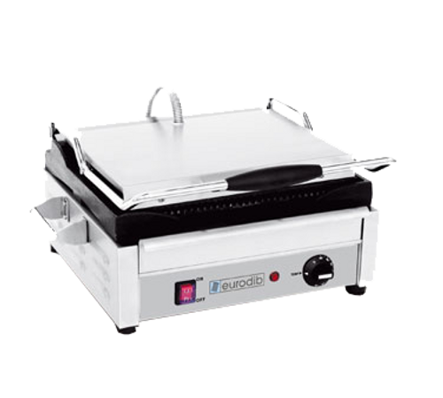 """Eurodib - Grooved Commercial Panini Grill 14.8"""" x 10.9"""" 120 V 1800 W - SFE02345-120"""