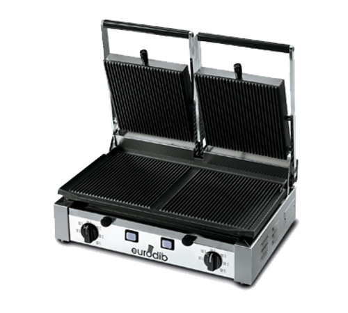 """Sirman - Large Ribbed Panini Grill 19.7"""" x 10"""" Cooking Surface 240V 3000W - PDR3000"""