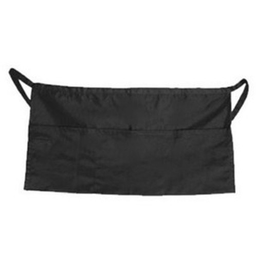 John G. Brown Apparel - Black 3 Pocket Server Apron w/ Metal Buckle - 1003BK