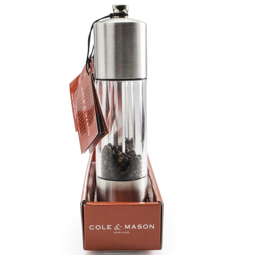 """Cole & Mason - 8"""" Acrylic & Stainless Everyday Pepper Mill - H785910RT"""