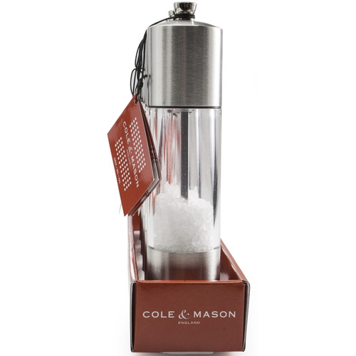 "Cole & Mason - 8"" Acrylic & Stainless Everyday Salt Mill - H785920RT"