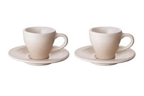 Le Creuset - Meringue Espresso Cups and Saucers - Set of 2